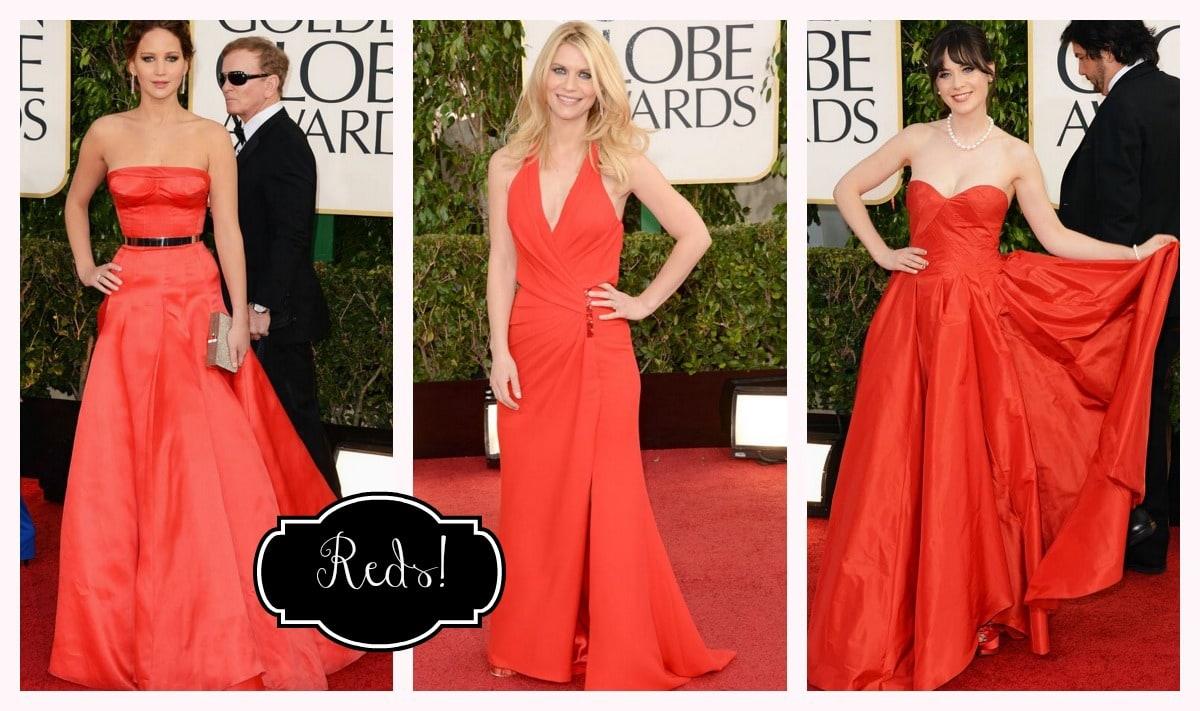 Golden Globes Reds Jennifer Lawrence, Claire Danes, Zooey Deschanel