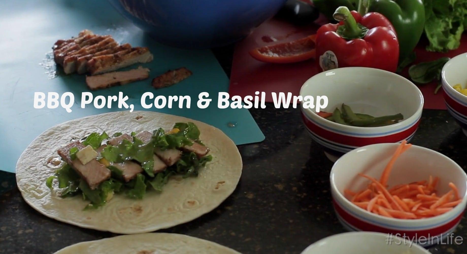 Pork BBQ Corn and Basil Wrap
