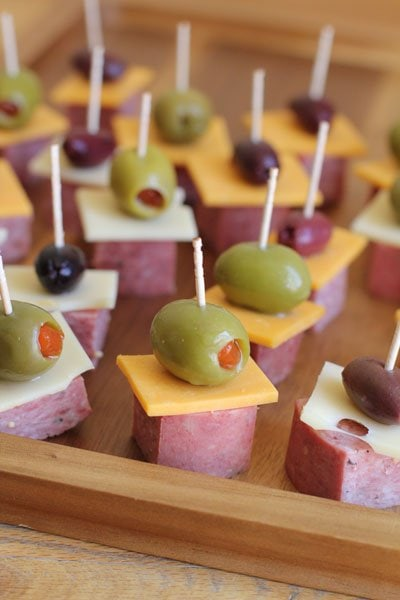 How to Host Summer Bridal and Baby Showers - Antipasto Skewers