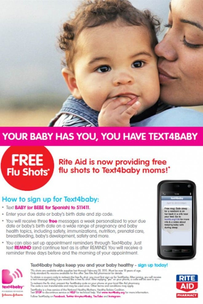 Rite Aid Text4Baby Flu Ad
