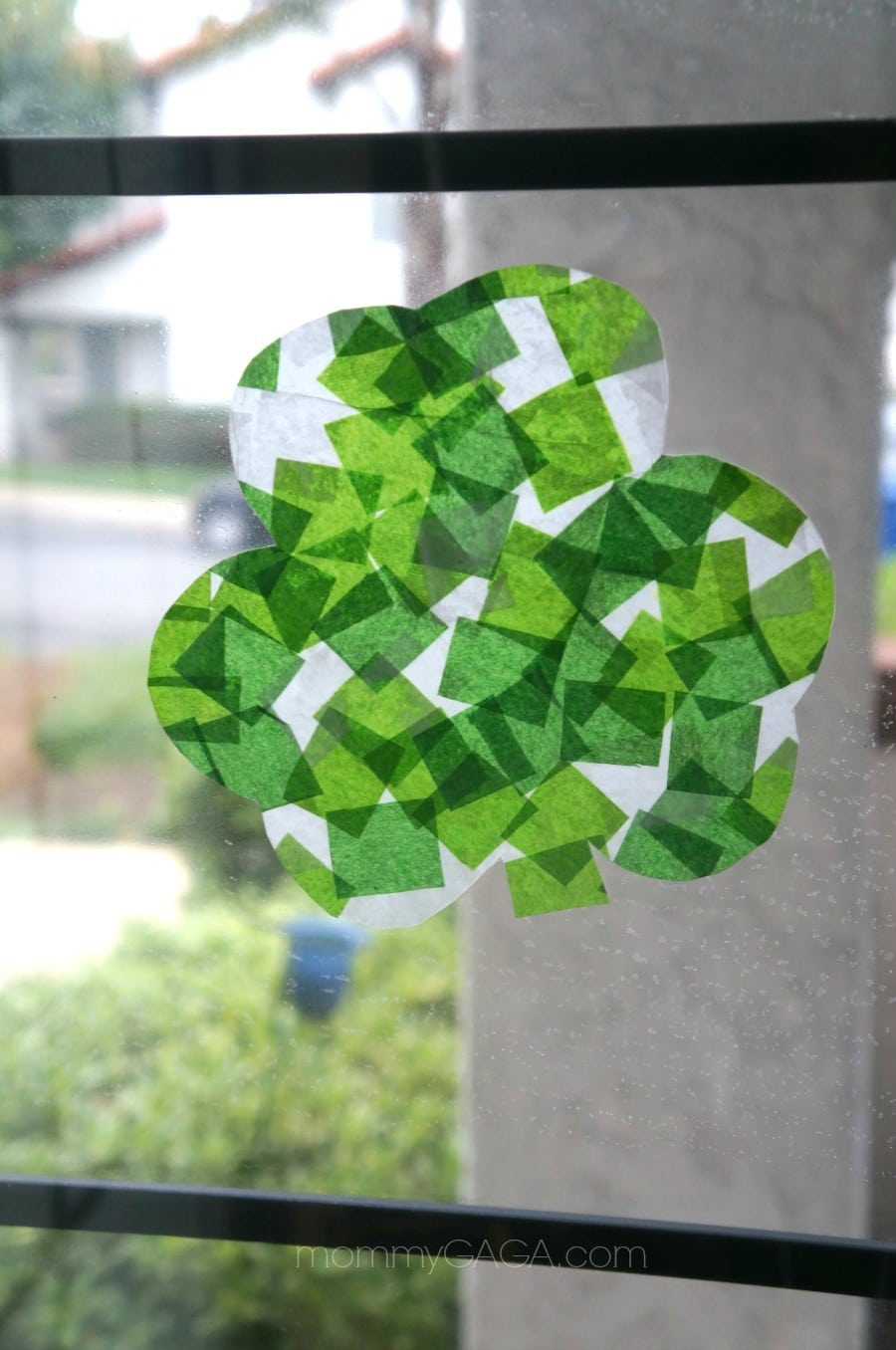 St-Patricks-Day-Crafts-for-Kids-Stained-Glass-Tissue-Paper-Shamrocks