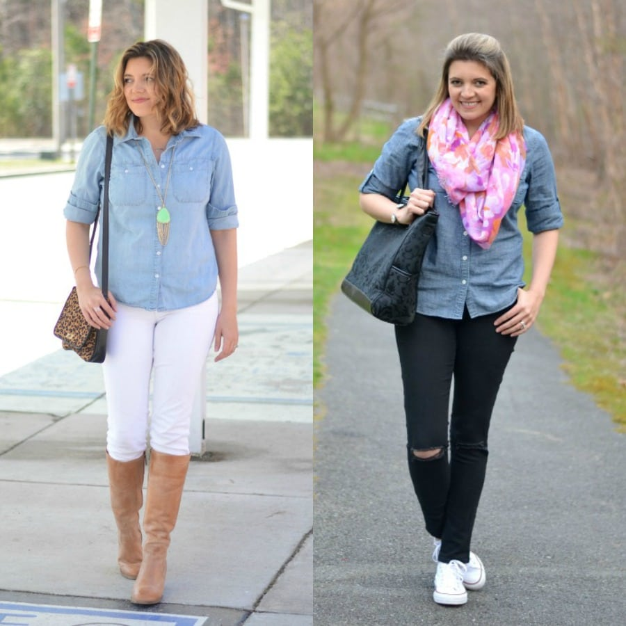 wearing chambray with colored denim