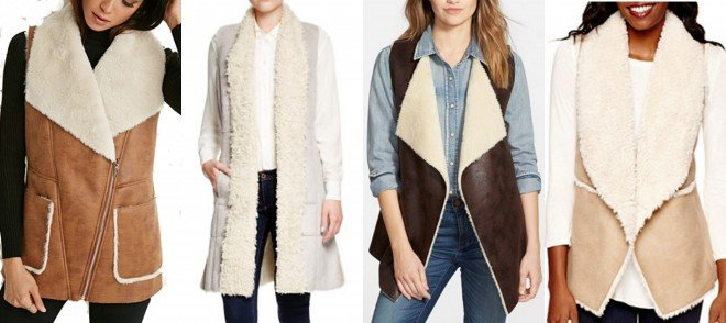faux shearling vests for Fall