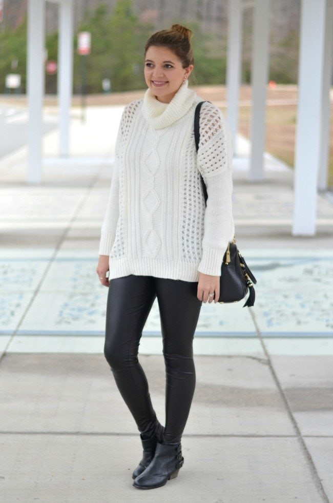 how to wear leggings - oversized sweater