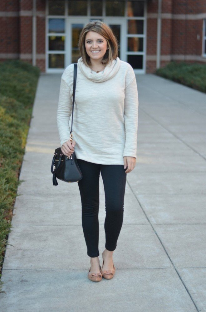 how to wear leggings - sweater tunic