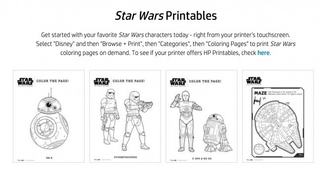 HP Star Wars Printables