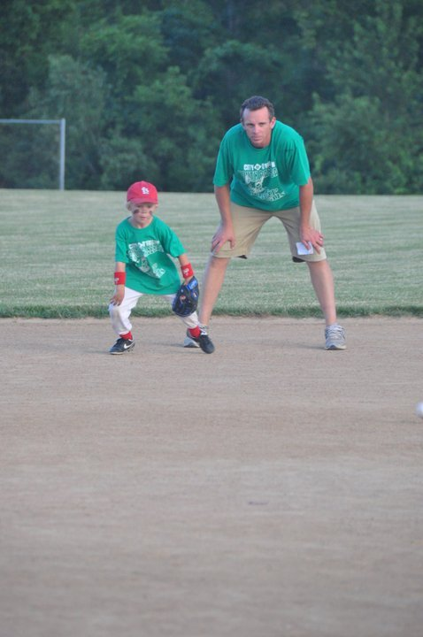 Cooper playing Little League at Four
