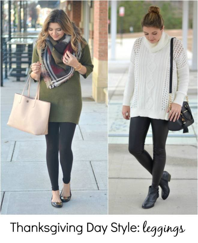 thankgivind outfit ideas with leggings