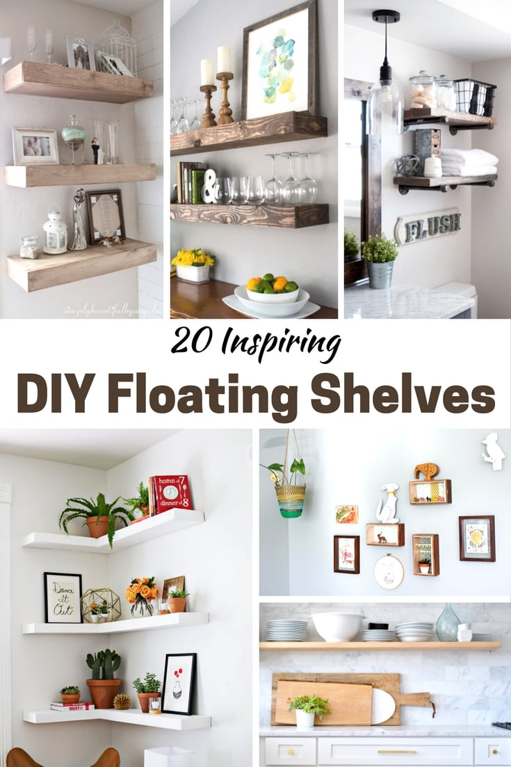 inspiring living room floating shelves | 20 Inspiring DIY Floating Shelves - Pretty Extraordinary