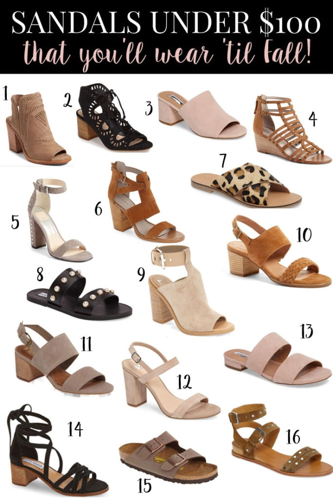 sandals under $100 you can wear now until Fall!