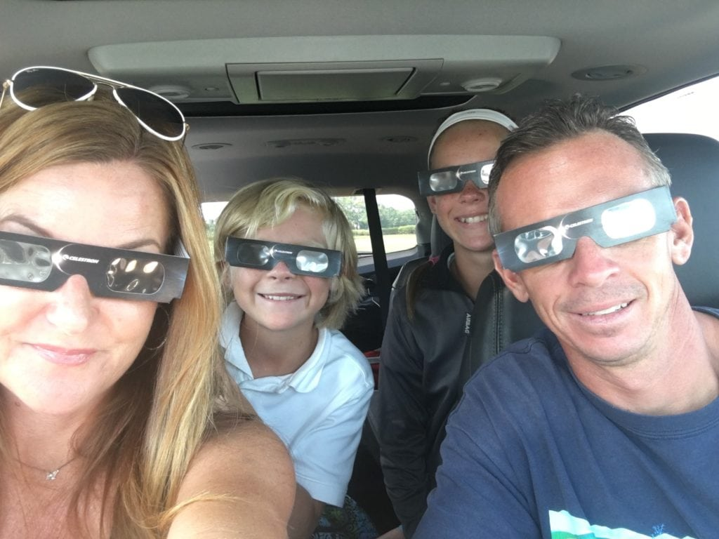 Experiencing the Solar Eclipse Path of Totality - Family is ready! We pulled the kids from school so they might have the entire experience.