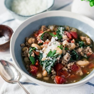 Easy Fall Soup Recipe: Spicy White Bean Soup with Parmesan and Spinach