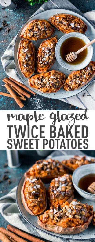 Maple Glazed Twice Baked Sweet Potatoes