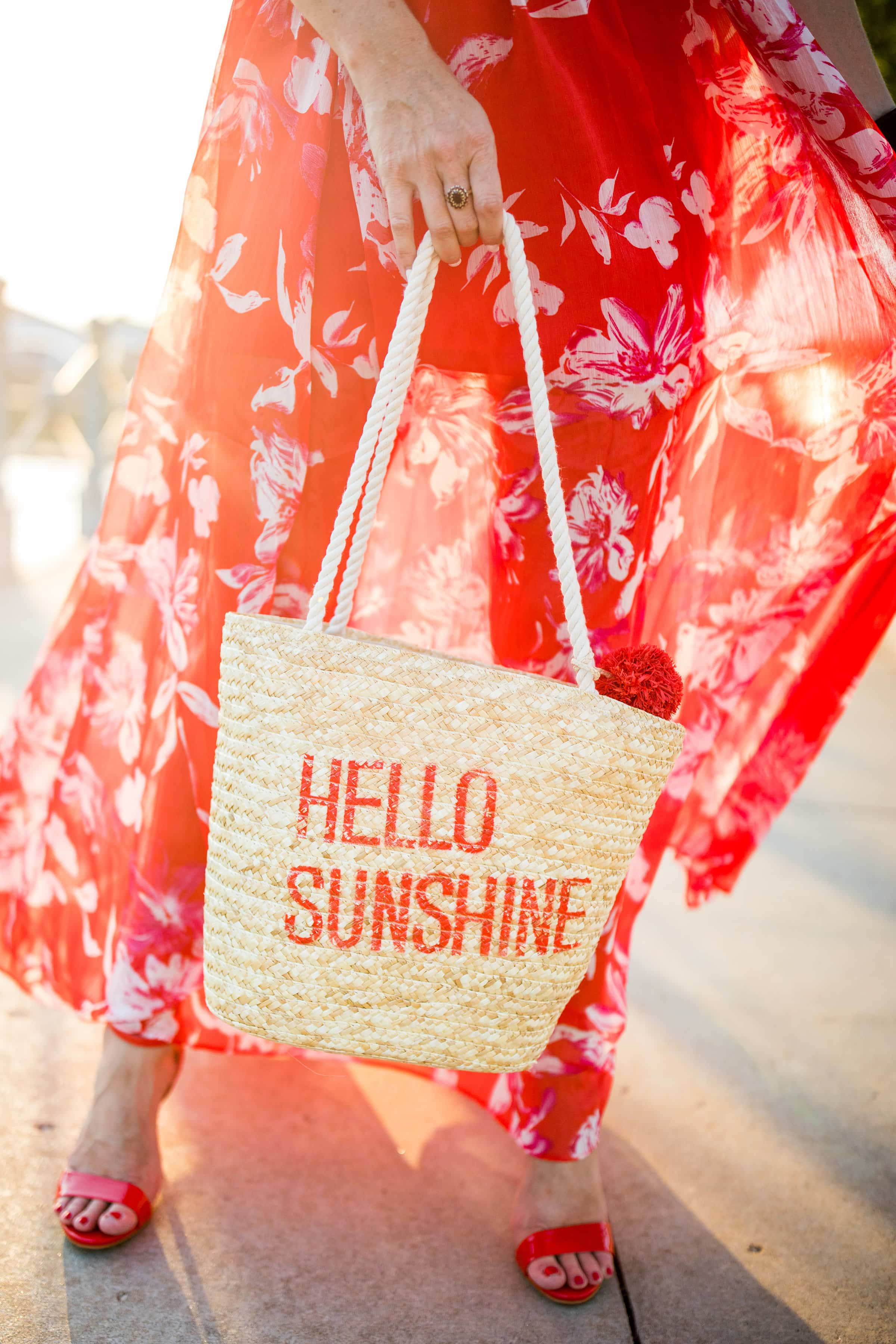 The Red Maxi Dress You Need for Summer - Plus Hello Sunshine Straw Bag