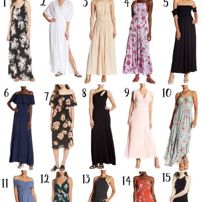 Chic Maxi Dresses under $50 - So many favorites - love the off the shoulder!