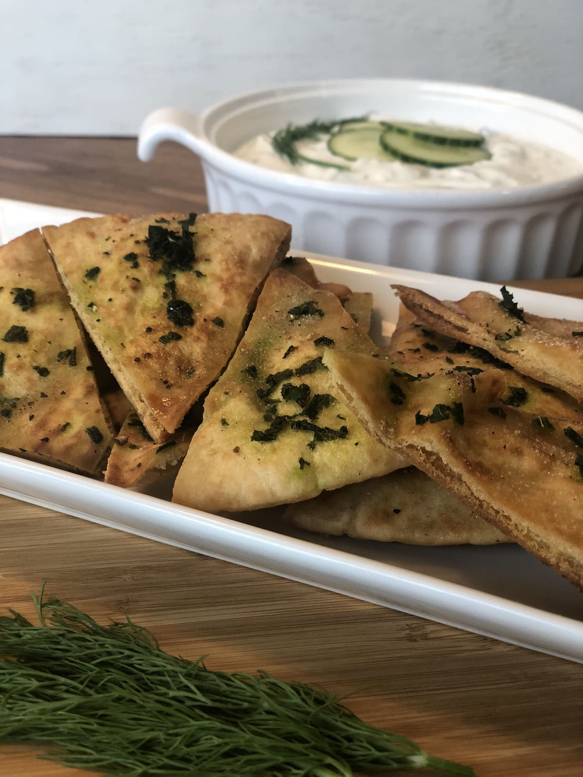 Greek Inspired Appetizers - Tzatziki and Basil Pita Chips